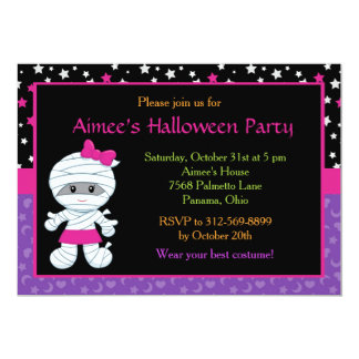 Cute Girl Mummy Halloween Party Invitation