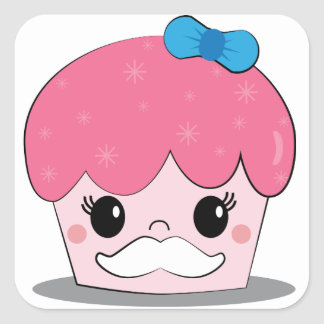 Cute girl mustache square sticker