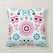 Cute girl nursery owls pattern throw pillow