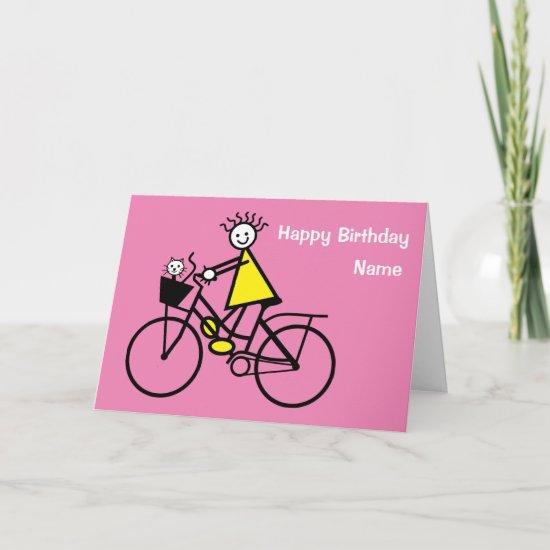 Cute Girl on Bike with Cat Birthday Card