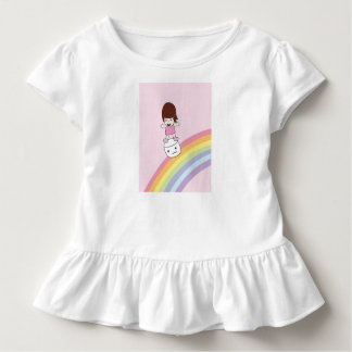Cute Girl on Rainbow w Marshmallow Ruffle Tee