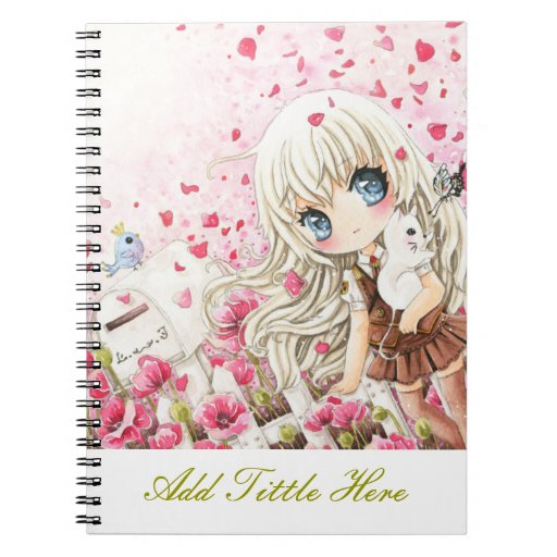 Cute girl on the pink flowers field spiral notebook