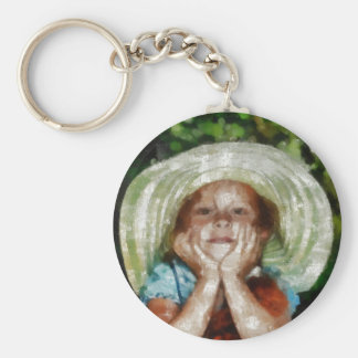 Cute Girl Outdoor Painting Basic Round Button Keychain
