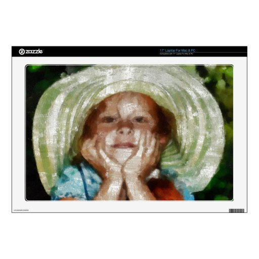 """Cute Girl Outdoor Painting Skins For 17"""" Laptops"""