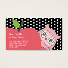Cute Girl Owl & Apple Tutor/teacher Business Card at Zazzle