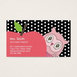 Cute Girl Owl & Apple Tutor/Teacher Business Card