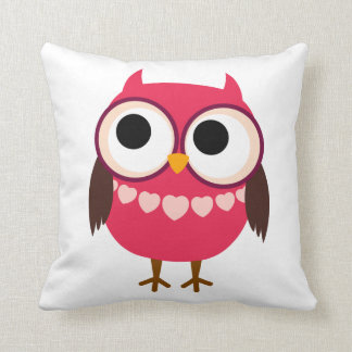 Cute Girl Owl with Heart Necklace Pillows