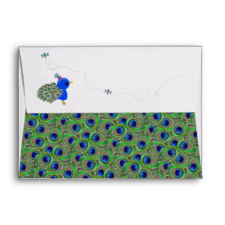 Cute Girl Peacock Dragonfly A7 Envelopes