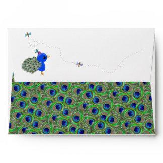 Cute Girl Peacock Dragonfly A7 Envelopes
