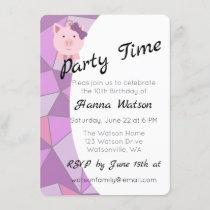 Cute Girl Pig Birthday Party Invitation