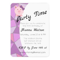 Cute Girl Pig Birthday Party Invitation