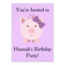 Cute Girl Pig Invitation