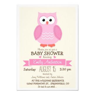 Cute Girl Pink Owl Baby Shower or Sprinkle Card