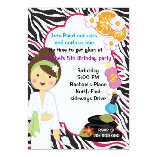 cute girl Pink Zebra spa party invitation