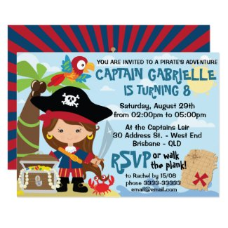 Cute Girl Pirate Party Birthday Invitations