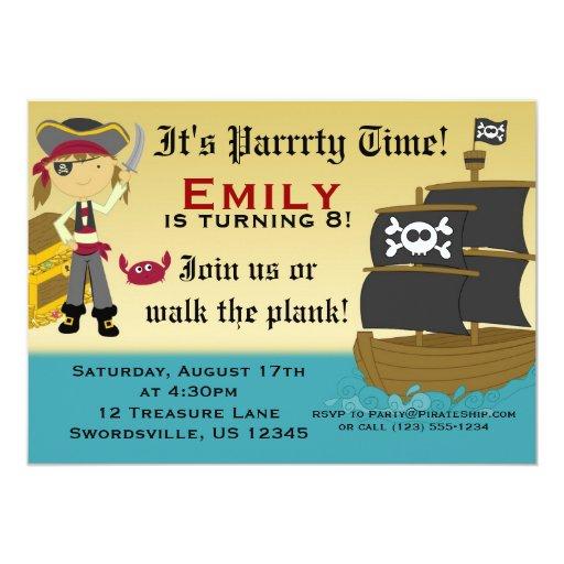 Cute Girl Pirate Ship Birthday Party Invitation