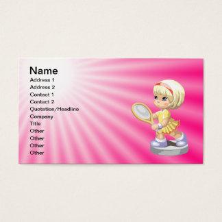 Cute Girl Playing Tennis Business Card