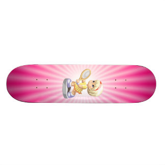 Cute Girl Playing Tennis Skateboard