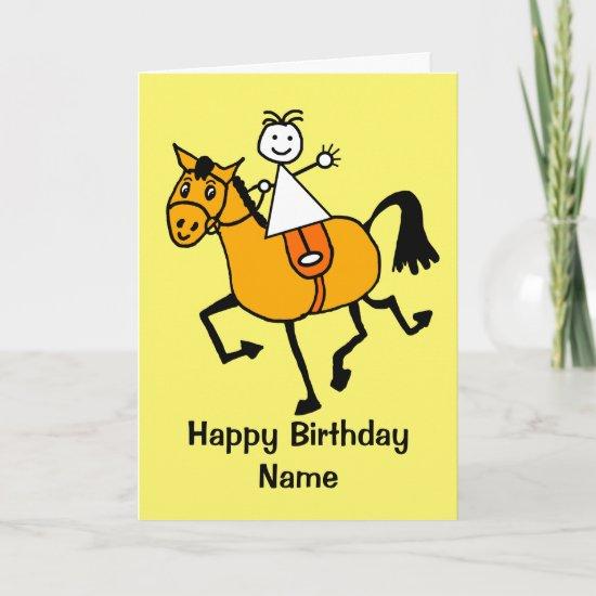 Cute Girl Pony Riding Birthday Card