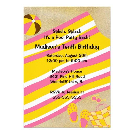 CUTE Girl Pool Party Birthday Invitation