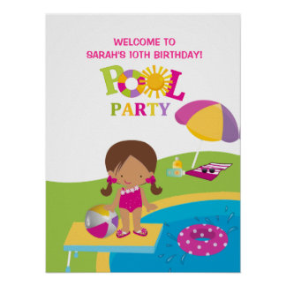 Cute Girl Pool Party Birthday Poster