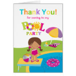 Cute Girl Pool Party Birthday Thank You Card