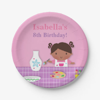 Cute Girl Pottery Painting Birthday Party Supplies Paper Plate
