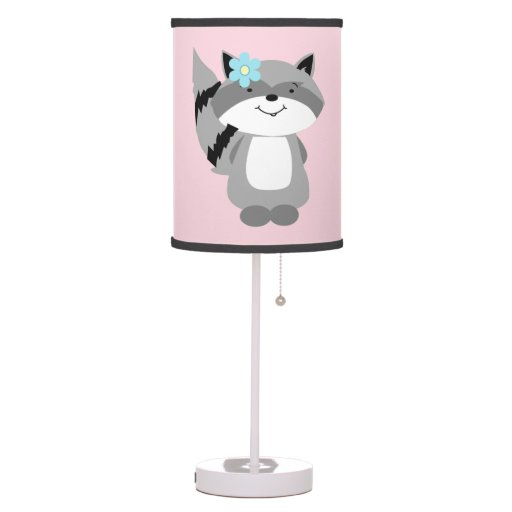 Cute girl Raccoon Woodland Nursery Lamp