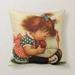 Cute Girl reading a Book Throw Cushion