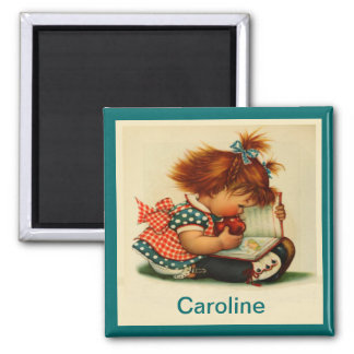 Cute Girl Reading a Book with Name - Square Magnet
