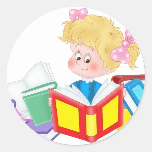 cute girl reading classic round sticker