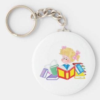 cute girl reading keychain