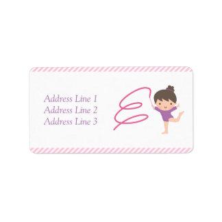 Cute Girl Ribbon Gymnastics Kids Birthday Party Address Label