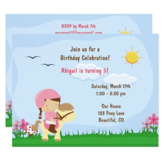Cute Girl Riding a Horse Birthday Invitation