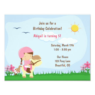 Cute Girl Riding a Horse Birthday Party 4.25x5.5 Paper Invitation Card