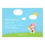 "Cute girl riding a horse birthday party invitation 5"" x 7"" invitation card"