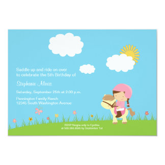 "Cute girl riding a horse birthday party invitation 5"" x 7"" invitation card"