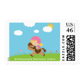 Cute girl riding a horse birthday party stamps