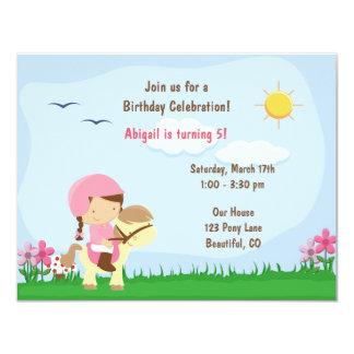 Cute Girl Riding Horse Birthday Invitation