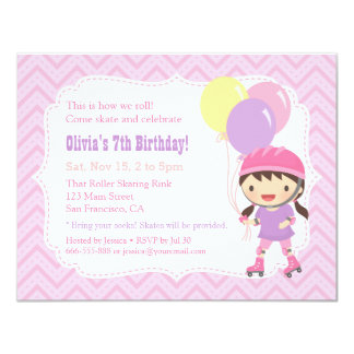 Cute Girl Roller Skating Birthday Party Card