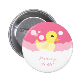 Cute Girl Rubber Ducky Baby Shower 2 Inch Round Button