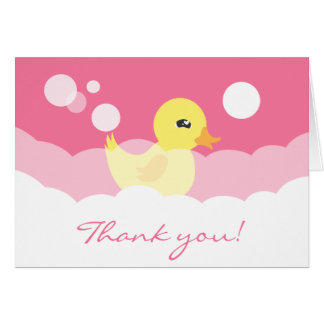 Cute Girl Rubber Ducky Baby Shower Greeting Card