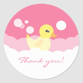 Cute Girl Rubber Ducky Baby Shower Classic Round Sticker
