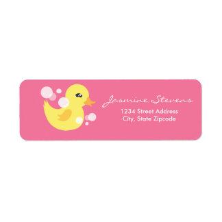Cute Girl Rubber Ducky Baby Shower Return Address Label