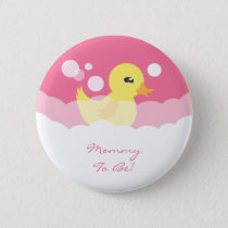 Cute Girl Rubber Ducky Baby Shower Pinback Button