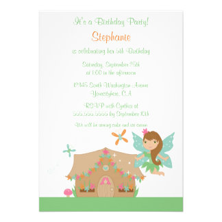 Cute girl s flying fairy birthday party invitation