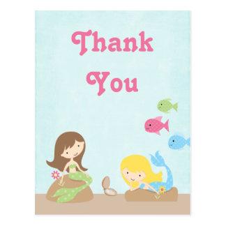 Cute girl s mermaids thank you postcard