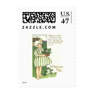 Cute Girl Shamrock Pot Postage Stamp