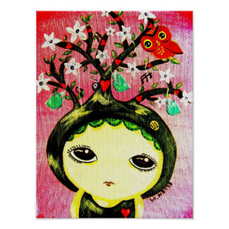 Cute Girl - She Grows A Tree Poster