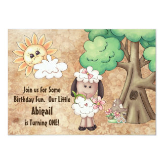 Cute Girl Sheep and Flowers 1st Birthday Invite